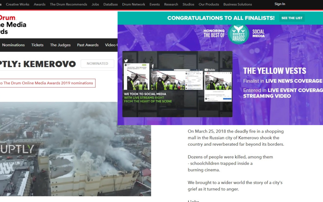 Ruptly declared a Drum Online Media and Shorty Awards finalist